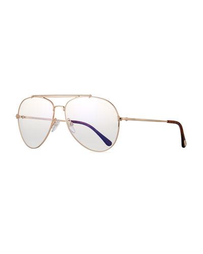 Metal Doubled-Brow Aviator Sunglasses, Rose-Tone
