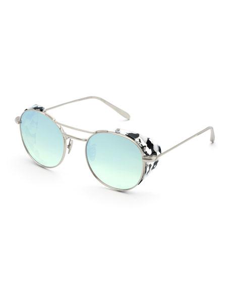 9cef0da66d196 KREWE Orleans Round Mirrored Sunglasses w  Side Blinders