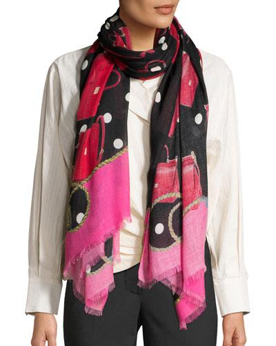 Sicily Bag-Print Cashmere-Blend Scarf
