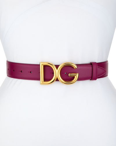 Leather Belt with DG Logo Buckle