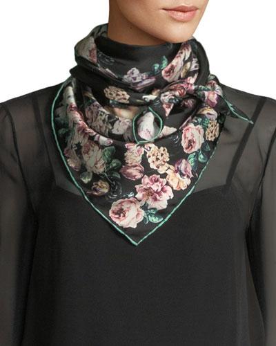 Silk Twill Floral Scarf