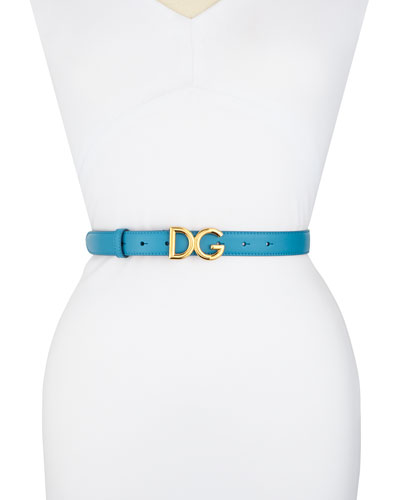 Skinny Leather Belt with DG Logo Buckle