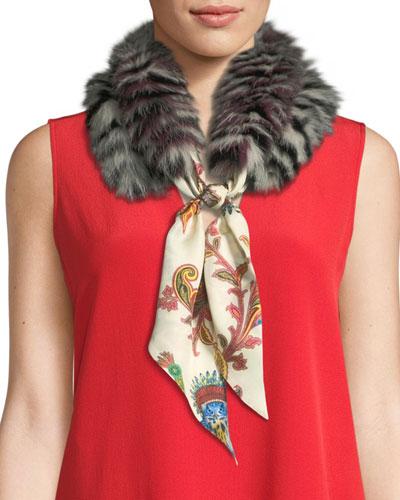 Paisley Silk Scarf w/ Lemur-Print Fur Trim