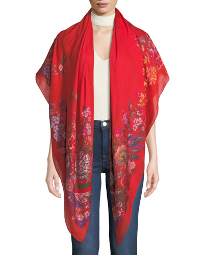 Chinoiserie Floral Wool-Blend Scarf