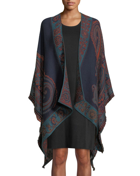 Classic Paisley Wool-Blend Cape w/ Brush Fringe Trim