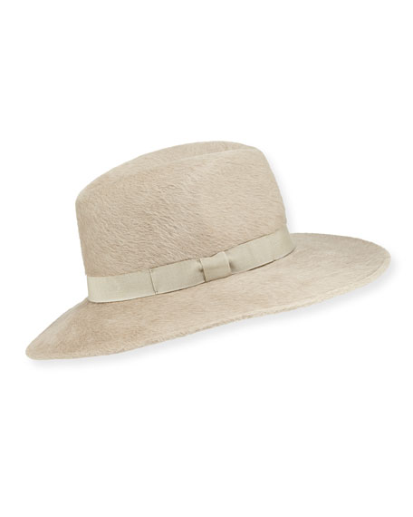FRASCONI Felt Fedora Hat W/ Grosgrain Hat Band in Beige