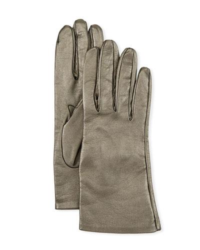 Metallic Napa Leather Gloves
