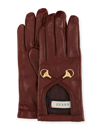 Leather Gloves w/ Double Horsebit Detail