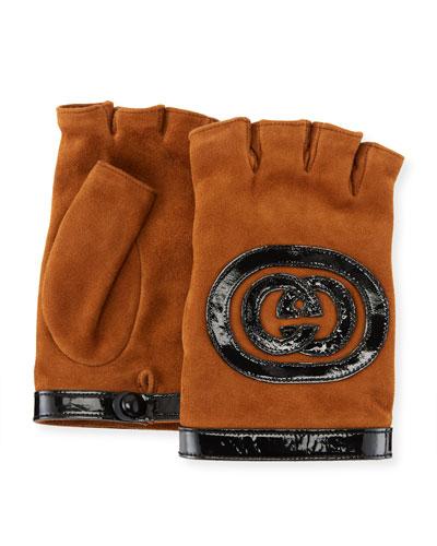 Suede Fingerless Gloves w/ Interlocking GG Leather Trim