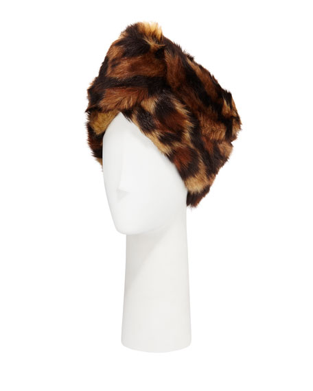 Leopard Print Faux-Fur Head Wrap in Brown