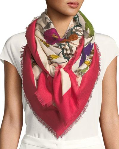Flora Gothic Wool-Silk Shawl