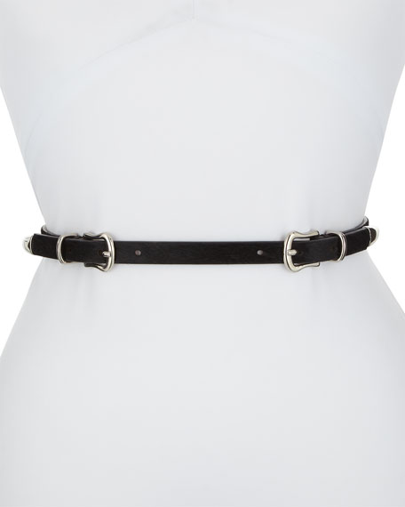 Luma Double-Buckle Calf Hair Belt in Black