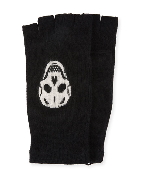 360Sweater Ravenna Knit Fingerless Gloves w/ Skulls