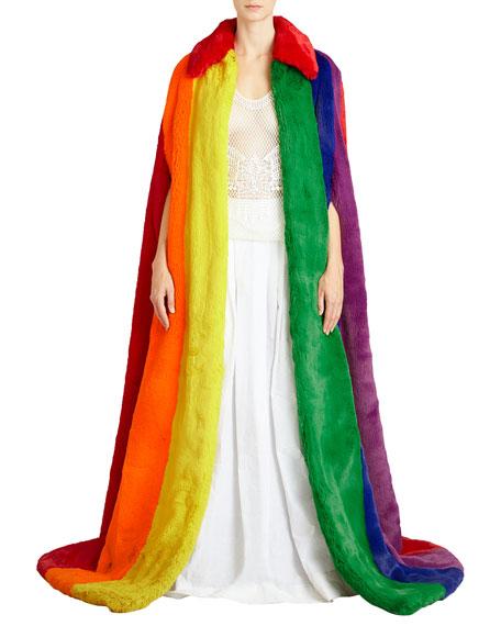 Rainbow Faux-Fur Long Cape