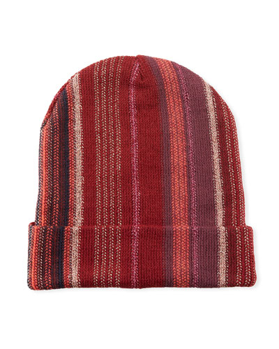 Wool-Blend Metallic Striped Knit Hat