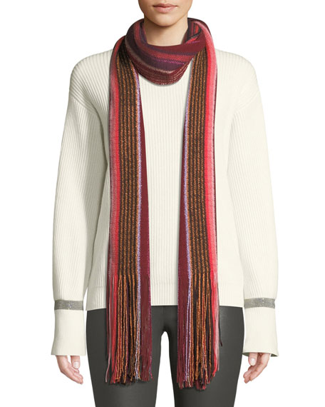 Metallic Striped Fringe-Trim Scarf