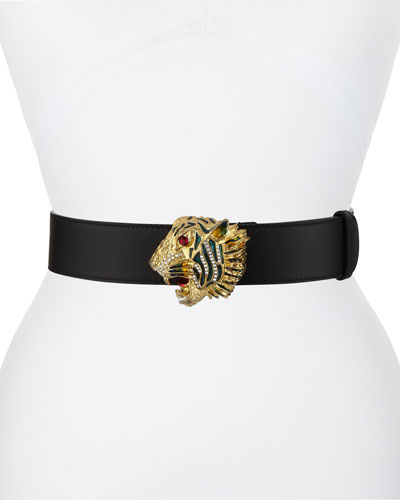 Tiger-Buckle Leather Belt