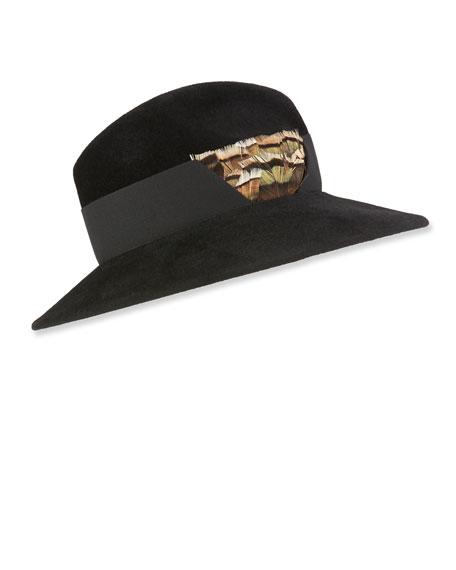 Marzi RABBIT FELT STRUCTURED HAT W/ FEATHER DETAIL