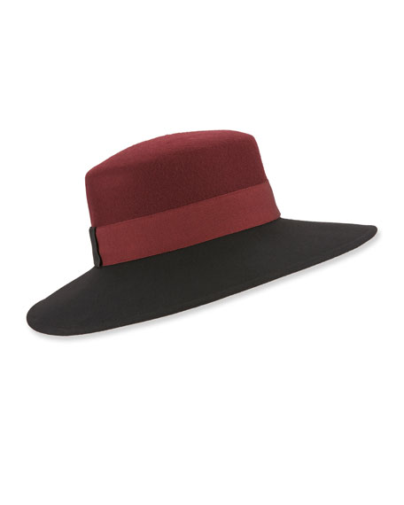 MARZI Colorblock Structured Wool Hat in Black/Burgundy