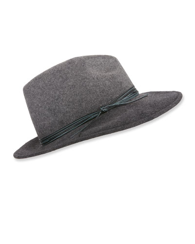 Wool Fedora Hat w/ Ombre Rope Detail