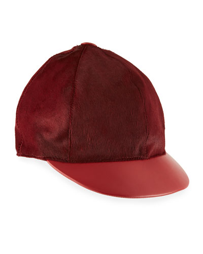 Calf Hair & Leather Baseball Hat