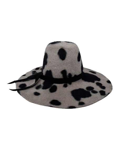 Aliyah Cow Print Rabbit Fur Felt Hat - White in Cow Black