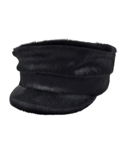 Georgie Cowhide Newsboy Hat