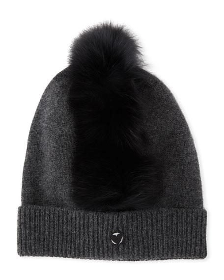 Charlotte Simone Cashmere Beanie Hat w/ Fur Mohawk