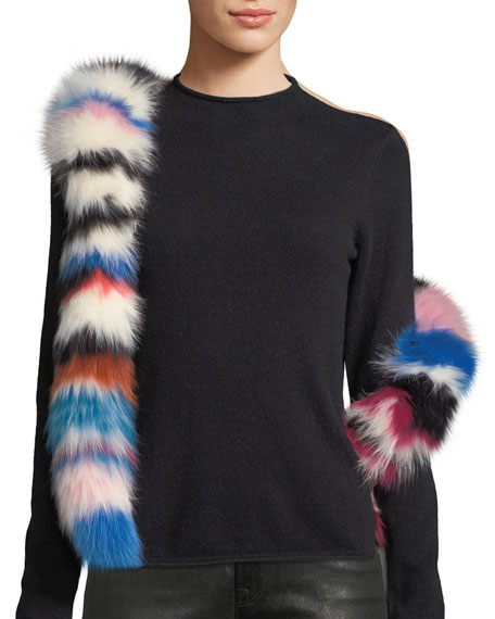 Chunky Monkey Multicolored Fur Scarf