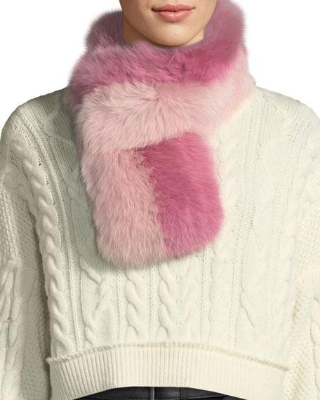 CHARLOTTE SIMONE Cuddle Cuff Two-Tone Fur Scarf in Pink