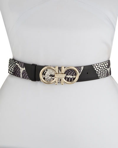 Gancini Leather & Snakeskin Belt