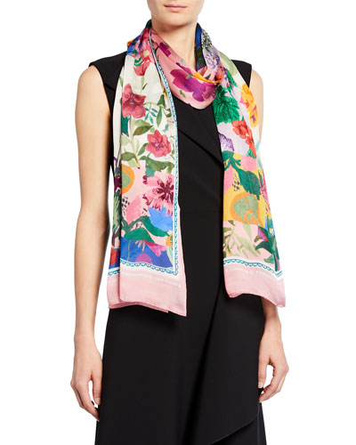 Colorblock Floral Silk Stole