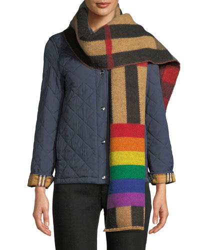 Rainbow Reversible Mega Check Cashmere Scarf