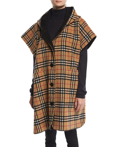 5b13be018ad Burberry Hopefield Reversible Vintage Check Hooded Cape