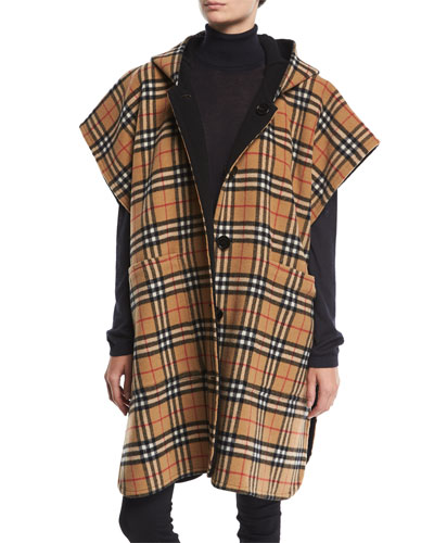 Hopefield Reversible Vintage Check Hooded Cape