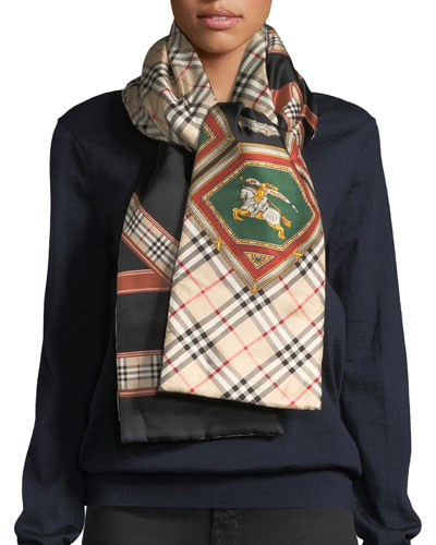 Silk Archive Prints Puffer Scarf