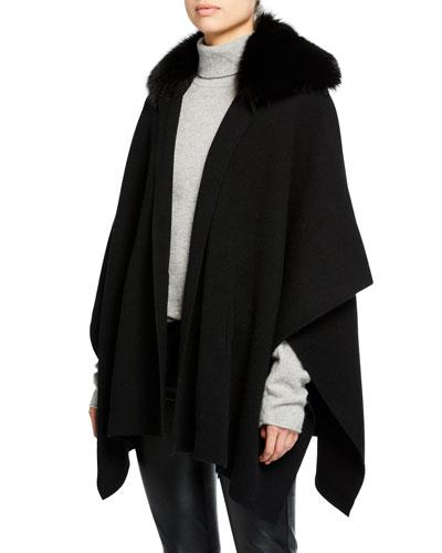 Button Cashmere Cape w/ Fur Collar