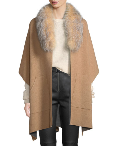 Double-Face Cashmere Cape w/ Fur Collar
