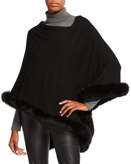 SOFIA CASHMERE Off-The-Shoulder Cashmere Poncho With Fur Trim in Black