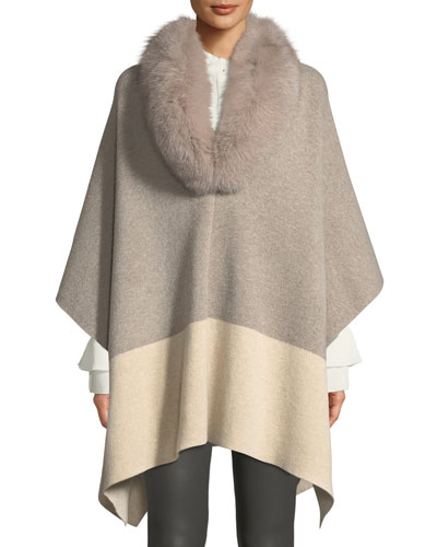 Fur-Color Colorblock Poncho
