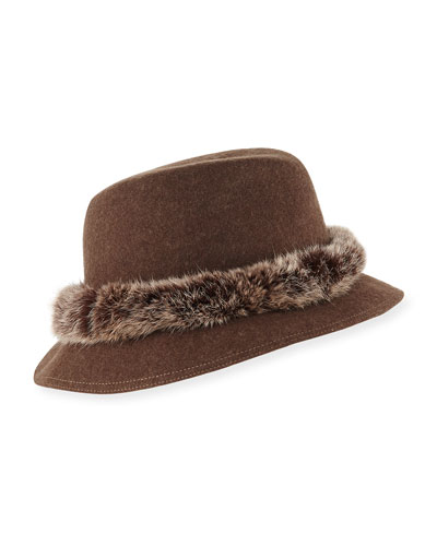 Bunny Wool Fedora Hat w/ Fur Band