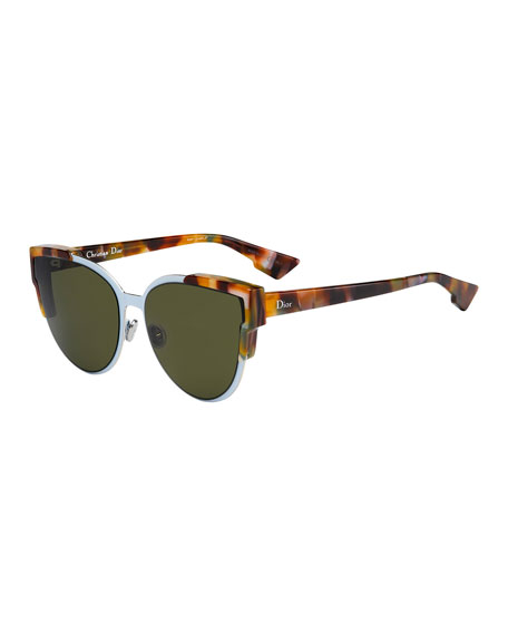 Image 1 of 1: Wildly Dior Cat-Eye Sunglasses, Havana/Light Blue