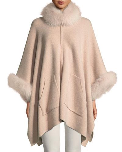Double-Face Cashmere Zip-Front Poncho w/ Fur Trim