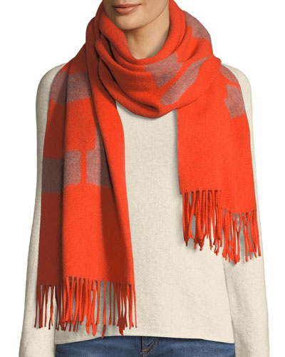 Fringed Wool Graphic Scarf