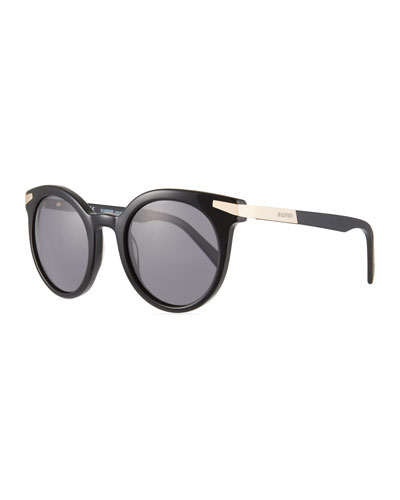 Round Acetate & Metal Sunglasses