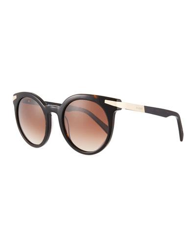 Round Gradient Acetate & Metal Sunglasses