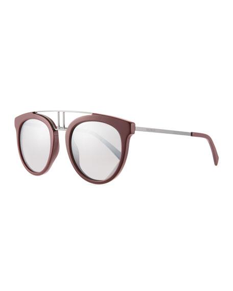 Round Mirrored Acetate & Metal Double-Bridge Sunglasses in Burgundy/Silver