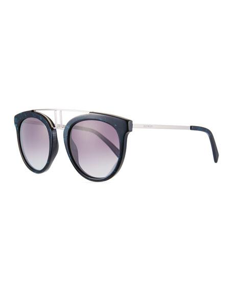 Round Gradient Acetate & Metal Double-Bridge Sunglasses in Blue/Smoke