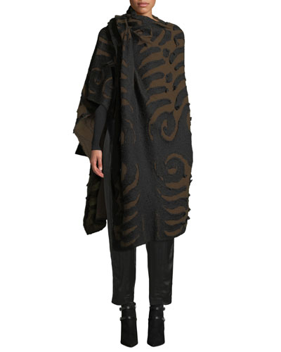 Patterned Cashmere-Blend Poncho