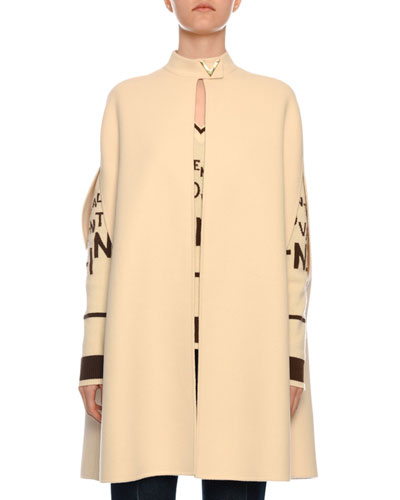 Open-Front Angora Wool Cape